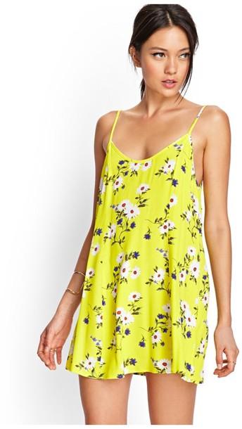 Dress yellow flowers flowy sundress sunny bright wheretoget mightylinksfo