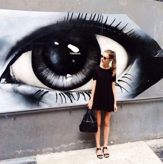 dress all black everything sunglasses bag indie alternative dress fashion inspo street streetwear streetlook tumblr outfit tumblr dress tumblr girl stylish style trendy blogger on point clothing shoes eyes