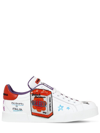 sneakers leather white orange shoes