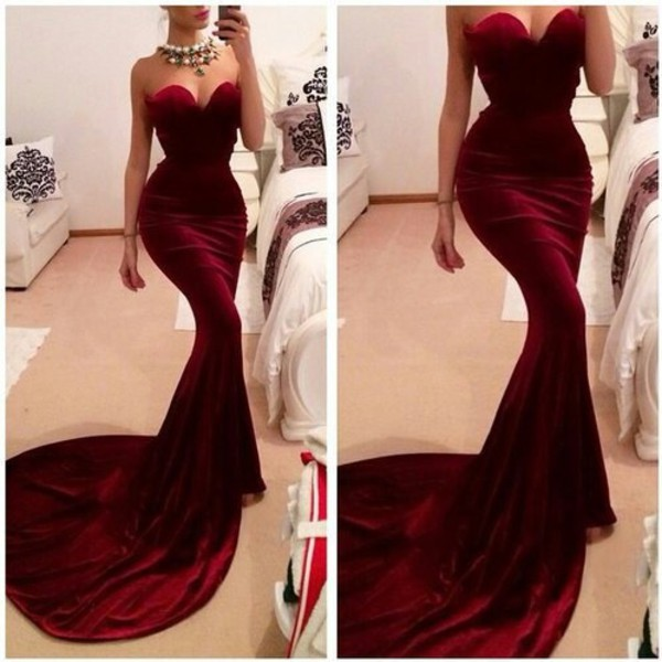 velvet dress red velvet dress bustier dress train dress formal dress prom dress red prom dress mermaid prom dress prom winter formal dress velvet burgundy dress sweetheart neckline sweetheart sexy prom dress dress mermaid long wine dress mermaid prom dress bodycon dress red dress prom gown long prom dress beautiful