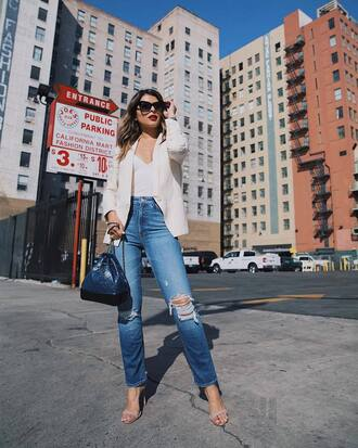 jacket tumblr blazer white blazer denim jeans blue jeans ripped jeans sandals sandal heels high heel sandals bag sunglasses shoes top