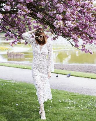 dress french girl lace dress white lace dress maxi dress long sleeves long sleeve dress sandals sunglasses white sunglasses flower crown spring outfits
