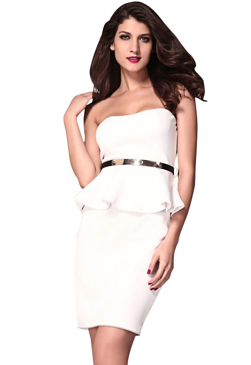 Amazon.com: Honeystore Women's New Fashion Belted Strapless Peplum Midi Pencil Dresses 2014: Clothing