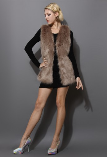 Mid-Length Brown Faux Fur Vest - Retro, Indie and Unique Fashion