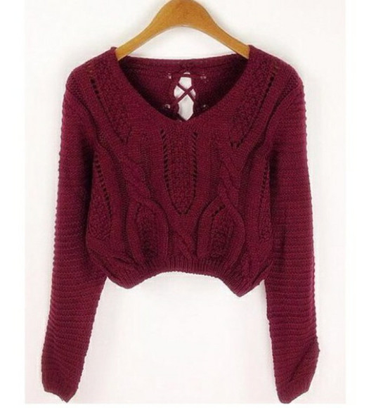crop tops sweater burgundy FALL FASHION cropped sweater