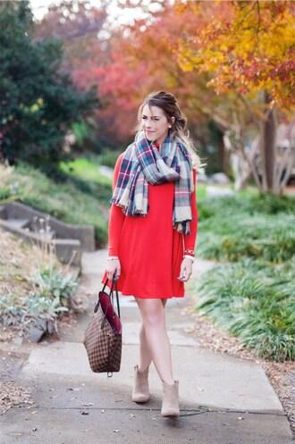 herestheskinny blogger dress scarf shoes jewels make-up red dress mini dress handbag tartan scarf ankle boots