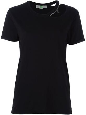 top metal cut-out women cotton black