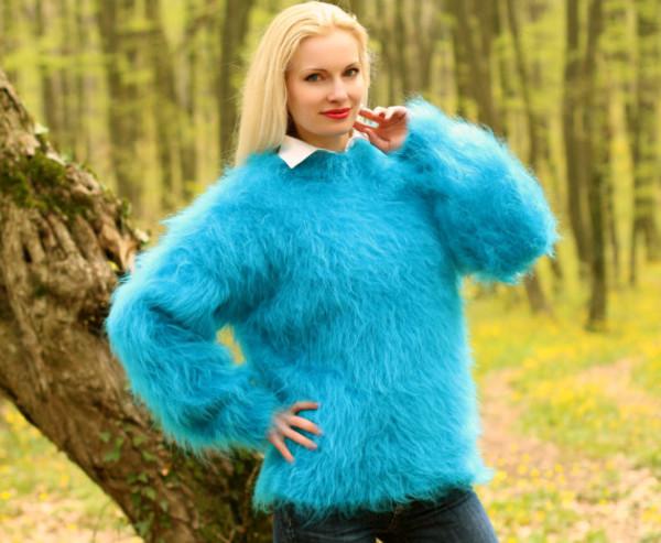 sweater hand knit made mohair blouse jumper pullover supertanya soft fluffy fluffy angora wool cashmere alpaca