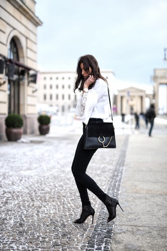 hug you blogger black heels white shirt elegant black pants shoulder bag heel boots bell sleeves office outfits