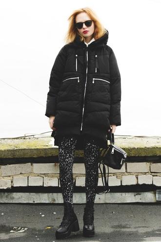 kristina magdalina blogger coat tights shoes jacket