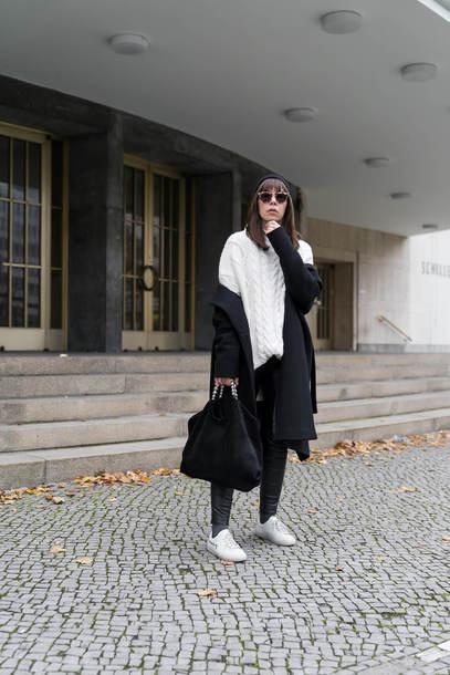 coat tumblr black  coat sweater white sweater knit knitwear knitted sweater pants black pants sneakers white sneakers bag