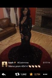 dress,black,sequin dress,long dress,prom dress,sparkly dress,long sleeves,vneck dress,prom gown