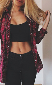 shirt,jeans,pants,blouse,black crop top,plaid,button down shirt,black jeans,red flannel,fit,body goals,high waisted jeans,on point,on point clothing,trendy,top,tank top,casual,girly,summer,crop tops,High waisted shorts,high heels,coat,hipster,dress,cardigan,jacket,flannel shirt,checkered,red,tumblr