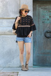 gracefullee made,blogger,top,shorts,hat,shoes,bag,sunglasses,jewels,make-up,back to school,bell sleeves,bell sleeve top,camel hat,black sunglasses,denim shorts,blue shorts,braid,brown boots,flat boots,boots