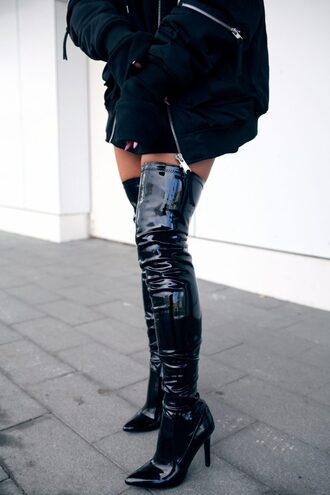 shoes tumblr black boots high heels boots over the knee boots over the knee vinyl