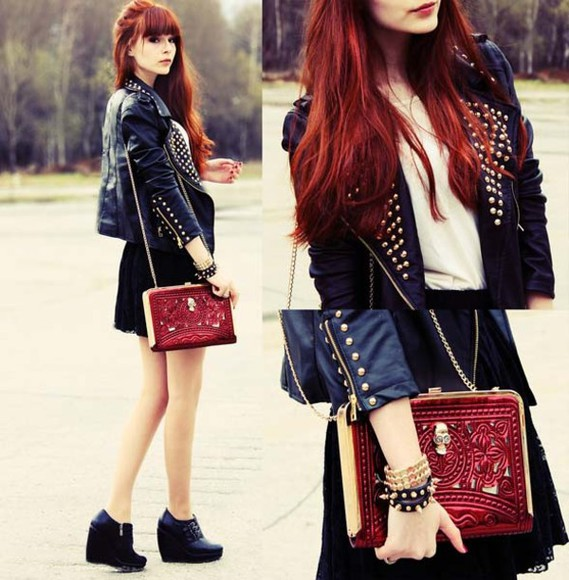 red bag bag jacket rock red clutch vinatge bohemian clutch