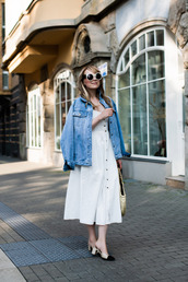 dress,dressw,white dress,denim,denim jacket,sunglasses,bag,shoes