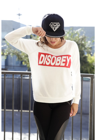 snapback top girl disobey pullover sweater diamonds silver chain hat leather leggings cool hot rad style hiphop hiphop style hipster