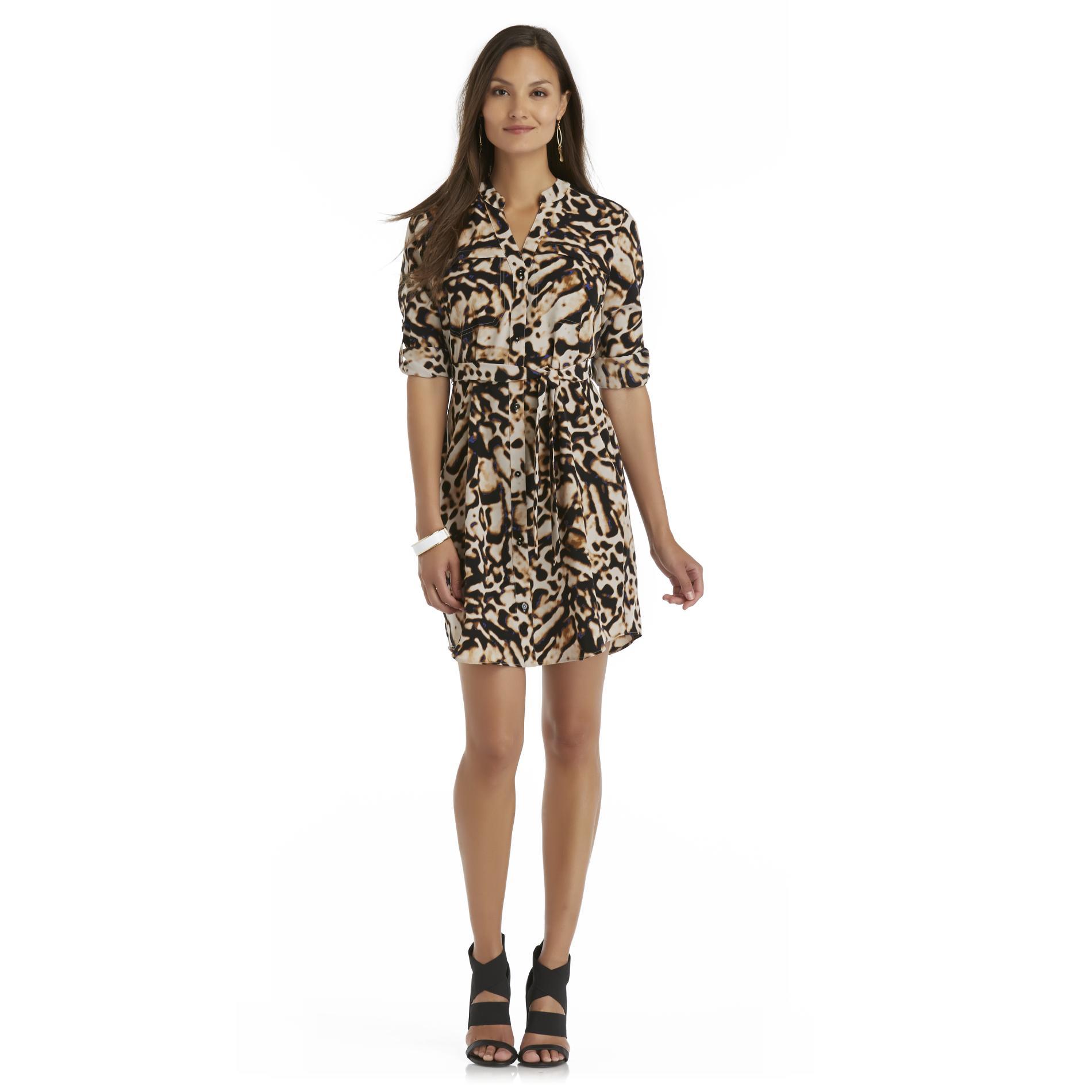 Attention Women's Shirtdress & Belt - Leopard Print - Clothing - Women's - Dresses