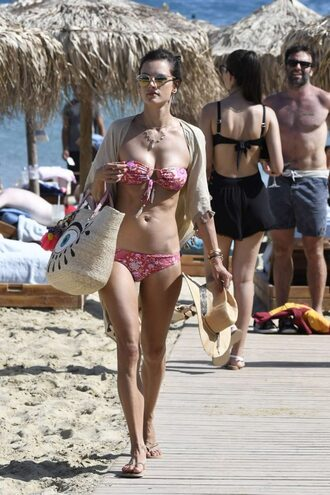 swimwear bikini bikini top bikini bottoms model off-duty alessandra ambrosio beach