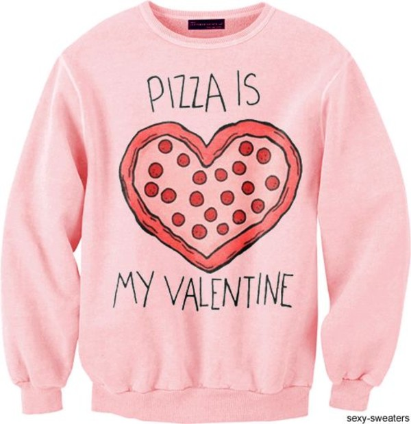 sweater pink pizza love