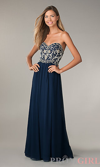 Strapless Beaded Prom Dresses, Sean Collection Gown- PromGirl