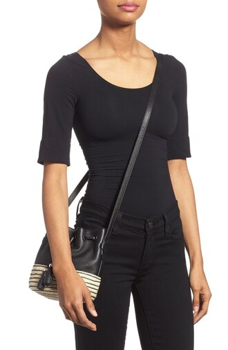bag mini bag bucket bag black leather rebecca minkoff