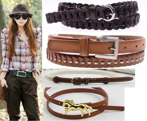 Women lady candy synthetic leather thin skinny belt waistband band obi waist