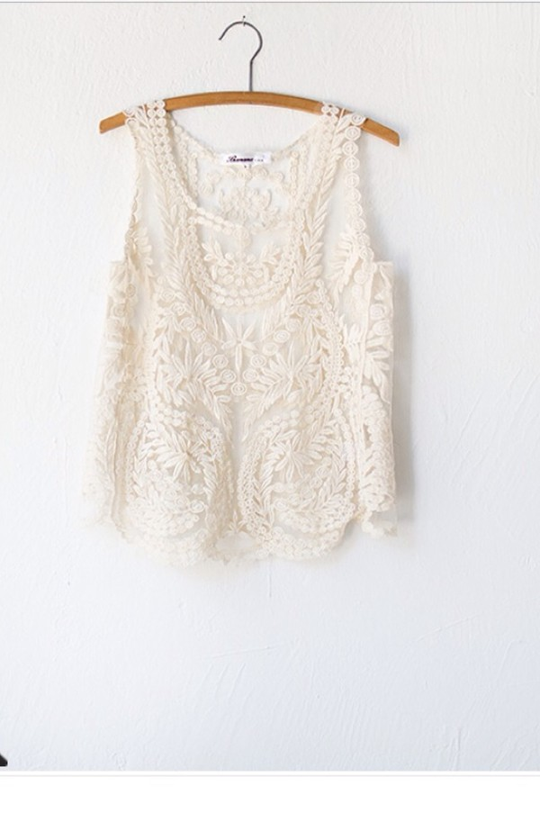 tank top white lace tank top