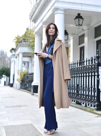 northern light blogger jumpsuit blue classy camel coat