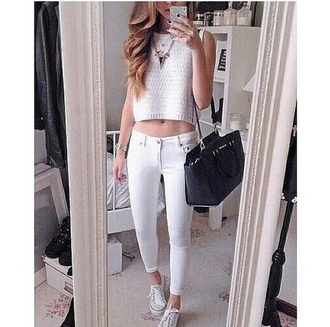 top cropped sweater statement necklace white crop top necklace gold necklace white pants high waisted white white pants high waisted pants white jeans style fashionista clothes trendy trending white girl bag black bag basic on point on point clothing