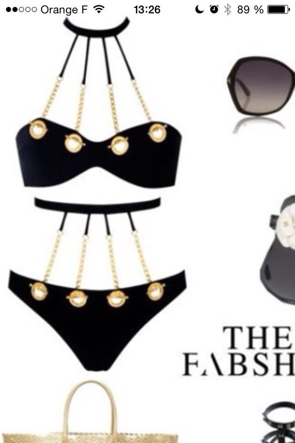 swimwear black swimwear glamgerous sexy style gold jewelry black bikini high waisted bikini bikini