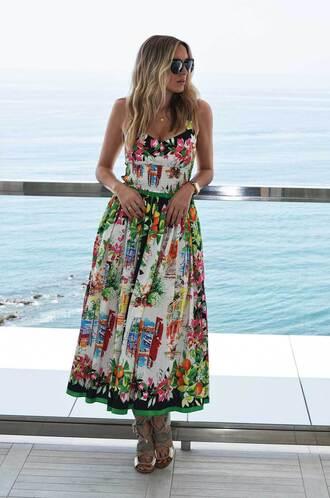 camila carril blogger dress sunglasses floral dress lace up heels