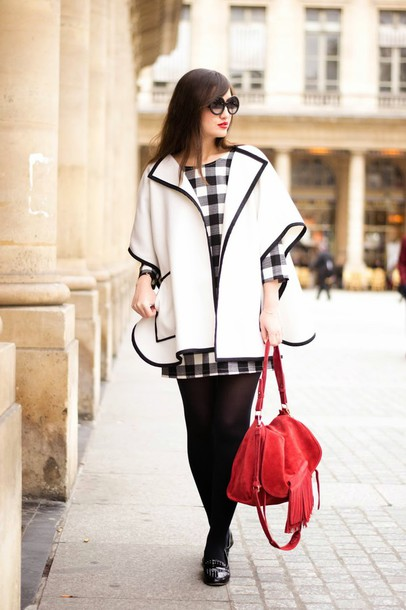 meet me in paree blogger cardigan red bag gingham three-quarter sleeves