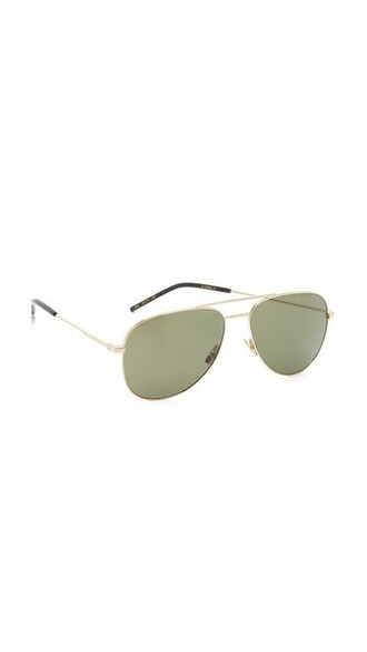 oversized classic sunglasses gold green
