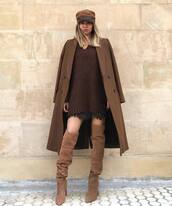 shoes,boots,over the knee,suede boots,wool coat,long coat,mini dress,sweater dress,hat