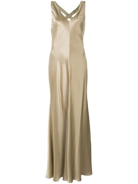 gown long women nude silk dress