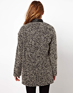 By Zoe   By Zoe Oversized Cocoon Coat with Leather Collar at ASOS