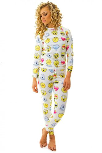 pajamas emoji print lounge suit pyjamas. the fashion bible www.thefashionbible.co.uk emoji pants tracksuit