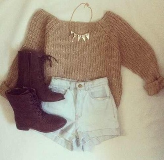 sweater hipster grunge boho jewelry studded necklace soft grunge alternative combat boots jewels hat shorts shoes