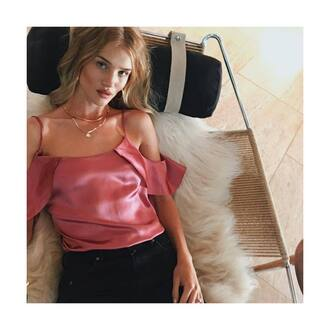 blouse rosie huntington-whiteley pink pink blouse off the shoulder