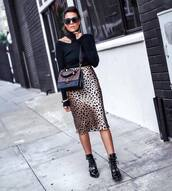 shoes,boots,black boots,flat boots,ankle boots,midi skirt,leopard print,silk,crossbody bag,turtleneck sweater,cut-out,sunglasses,earrings