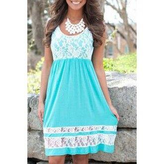 dress refreshing scoop collar sleeveless color block lace spliced sundress