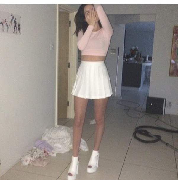 top pink pastel sweater crop cropped american apparel instagram light cute shoes skirt white skirt white heels chunky sole chucky heels