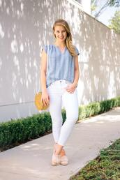 a lonestar state of southern,blogger,blouse,top,shoes,jewels,jeans,round bag,summer outfits,white pants
