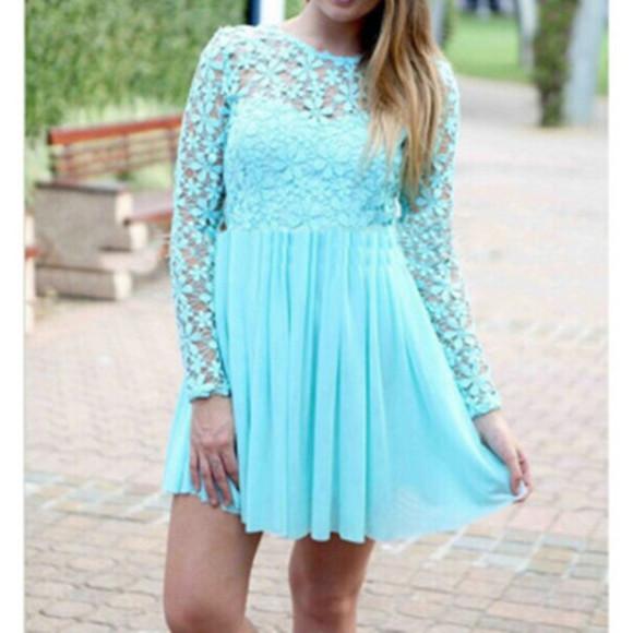 mini dress women longsleeves openwork sky blue