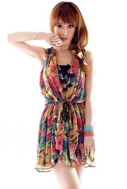 dress multicolor short cute