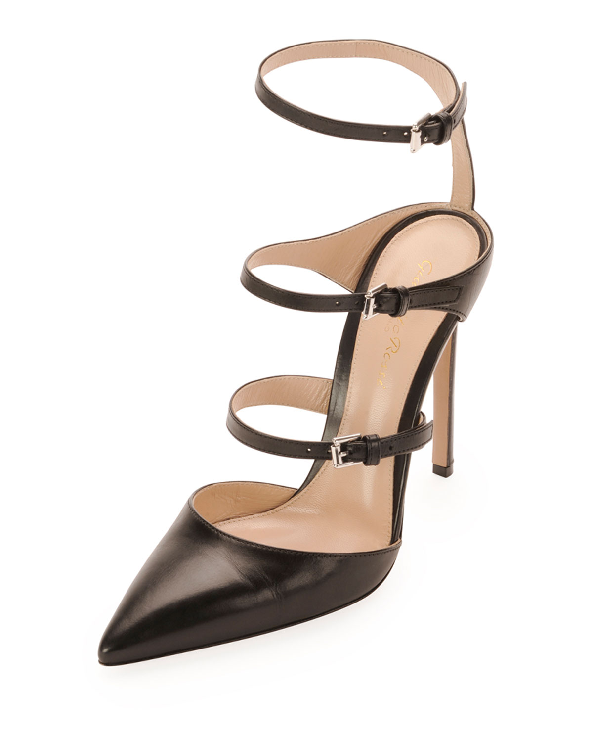 Ladder-Strap Mary Jane Pump, Black