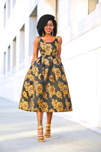 blogger dress bag shoes midi dress floral dress high heel sandals sandals