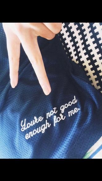 shirt cute cursive white blue mesh love